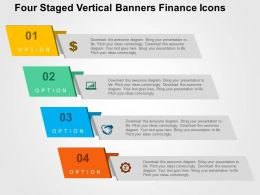 Four Staged Vertical Banners Finance Icons Flat Powerpoint Design