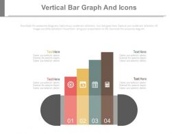 Four Staged Vertical Bar Graph And Icons Powerpoint Slides