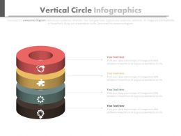 Four Staged Vertical Circle Infographics Flat Powerpoint Design