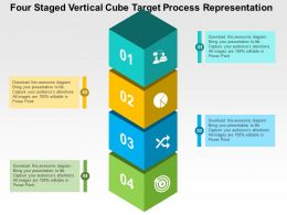 Four Staged Vertical Cube Target Process Representation Flat Powerpoint Design