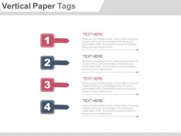 Four Staged Vertical Paper Tags For Process Flow Powerpoint Slide