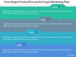 Four Staged Vertical Process For Legal Marketing Plan Flat Powerpoint Design