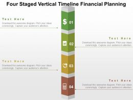Four Staged Vertical Timeline Financial Planning Flat Powerpoint Design