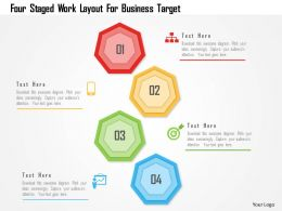 Four Staged Work Layout For Business Target Powerpoint Template