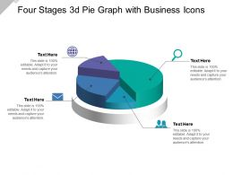 Four Stages 3d Pie Graph With Business Icons
