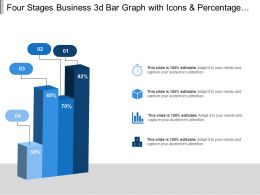 Four Stages Business 3d Bar Graph With Icons And Percentage Values