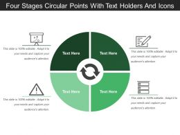 Four Stages Circular Points With Text Holders And Icons