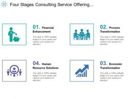 Four Stages Consulting Service Offering Financial Enhancement With Icons