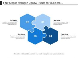 Four Stages Hexagon Jigsaw Puzzle For Business Presentation