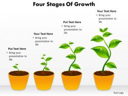 four stages of growth shown by plants growing in pots powerpoint diagram templates graphics 712