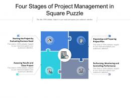 Four Stages Of Project Management In Square Puzzle