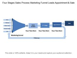 Four Stages Sales Process Marketing Funnel Leads Appointment And Sale