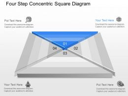 Four Step Concentric Square Diagram Powerpoint Template Slide