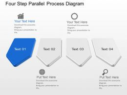 Four Step Parallel Process Diagram Powerpoint Template Slide