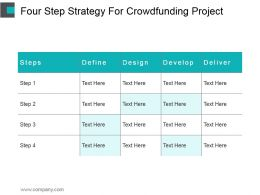Four Step Strategy For Crowdfunding Project Ppt Example 2017