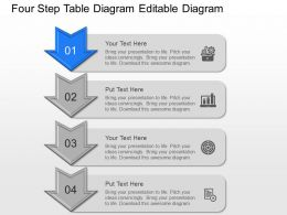 Four Step Table Diagram Editable Diagram Powerpoint Template Slide