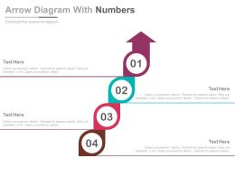 Four Steps Arrow Diagram With Numbers Flat Powerpoint Design