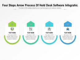 Four Steps Arrow Process Of Held Desk Software Infographic Template