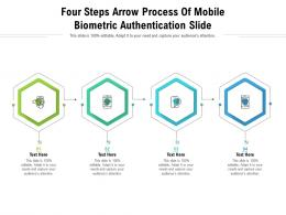 Four Steps Arrow Process Of Mobile Biometric Authentication Slide Infographic Template
