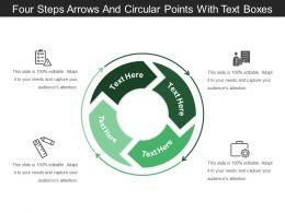 Four Steps Arrows And Circular Points With Text Boxes
