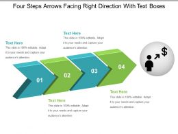 Four Steps Arrows Facing Right Direction With Text Boxes