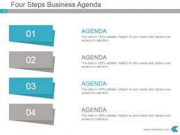 Four Steps Business Agenda Powerpoint Template Slides