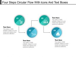 Four Steps Circular Flow With Icons And Text Boxes