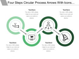 Four Steps Circular Process Arrows With Icons And Text Boxes