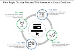 Four Steps Circular Process With Arrows And Credit Card Icon