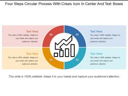 Four Steps Circular Process With Crises Icon In Center And Text Boxes