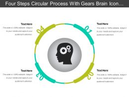 Four Steps Circular Process With Gears Brain Icon And Text Boxes