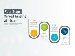 Four Steps Curved Timeline With Icon
