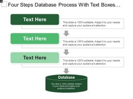 Four Steps Database Process With Text Boxes And Icons