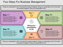 four_steps_for_business_management_flat_powerpoint_design_Slide01