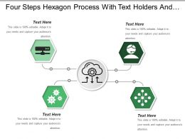 Four Steps Hexagon Process With Text Holders And Icon