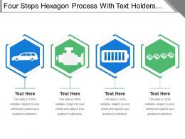 Four Steps Hexagon Process With Text Holders And Icons