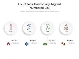 Four Steps Horizontally Aligned Numbered List