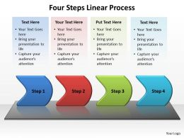 four steps linear process powerpoint diagram templates graphics 712