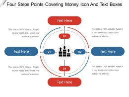 Four Steps Points Covering Money Icon And Text Boxes