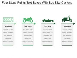 Four Steps Points Text Boxes With Bus Bike Car And Scooter Icon