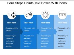 Four Steps Points Text Boxes With Icons