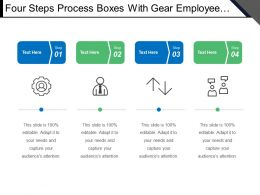 Four Steps Process Boxes With Gear Employee Communication Icon
