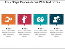 Four Steps Process Icons With Text Boxes
