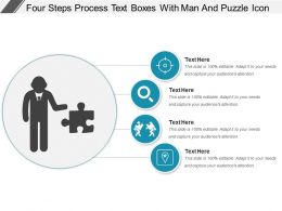 Four Steps Process Text Boxes With Man And Puzzle Icon