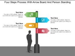 Four Steps Process With Arrow Board And Person Standing