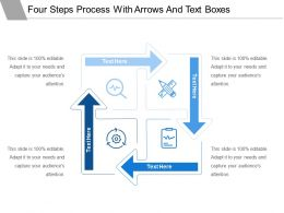 Four Steps Process With Arrows And Text Boxes