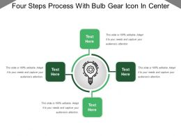 Four Steps Process With Bulb Gear Icon In Center