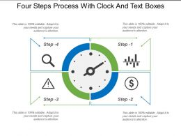 Four Steps Process With Clock And Text Boxes