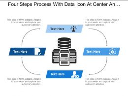 Four Steps Process With Data Icon At Center And Text Boxes