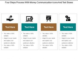 Four Steps Process With Money Communication Icons And Text Boxes